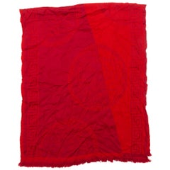 Versace Red Logo Print Scarf