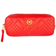 Versace Red Quilted Leather Icon Medusa Tribute Belt Bag