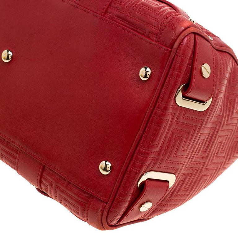 Versace Red Quilted Leather Studded Satchel For Sale 6