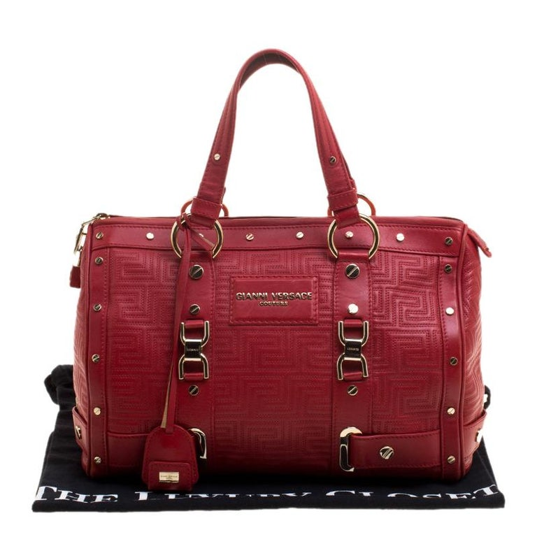 Versace Red Quilted Leather Studded Satchel For Sale 7