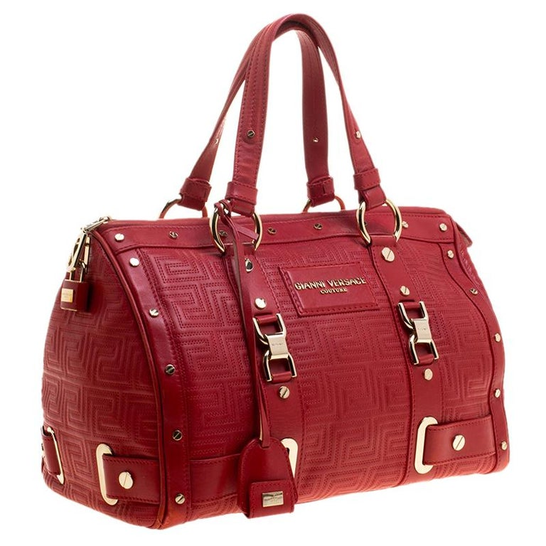 Women's Versace Red Quilted Leather Studded Satchel For Sale