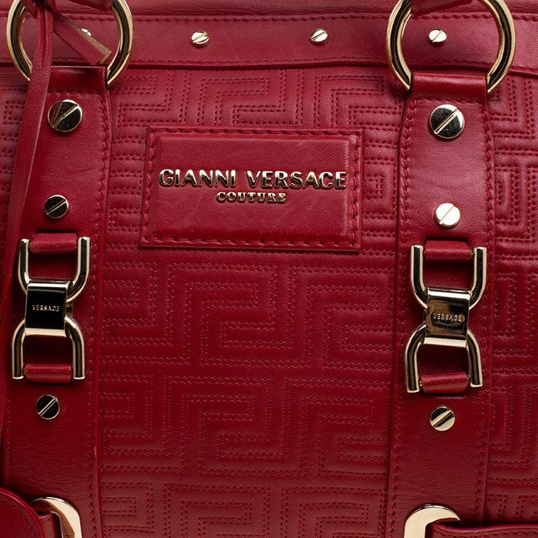 Versace Red Quilted Leather Studded Satchel For Sale 1
