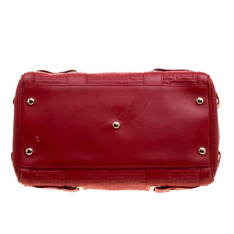 Versace Red Quilted Leather Studded Satchel For Sale 2
