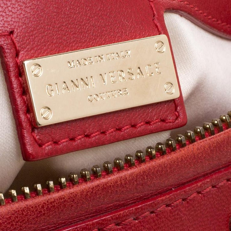 Versace Red Quilted Leather Studded Satchel For Sale 4