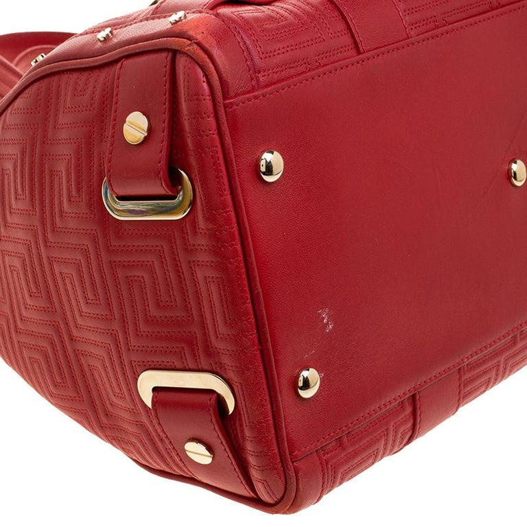 Versace Red Quilted Leather Studded Satchel For Sale 5