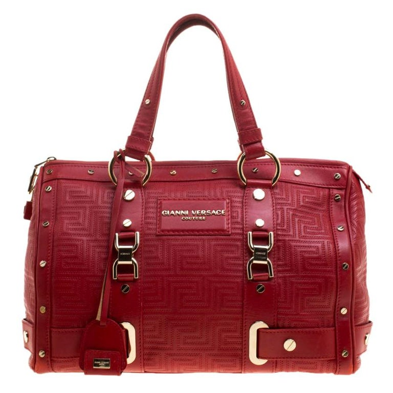 Versace Red Quilted Leather Studded Satchel For Sale