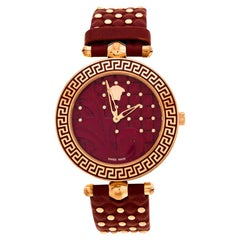 Versace Red Rose Gold Plated Stainless Steel Vanitas Women's Wristwatch 40 mm