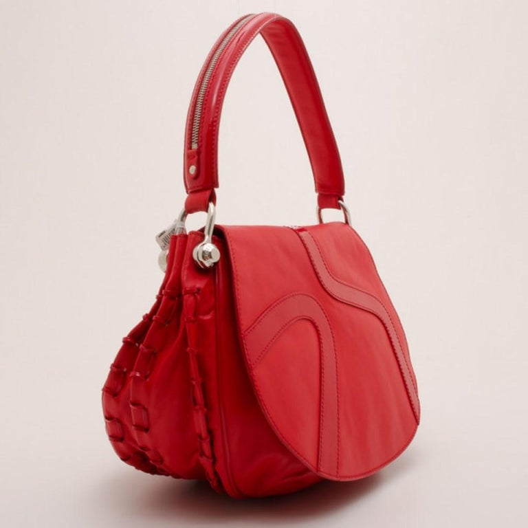 Women's Versace Red Rounded Flap Shoulder Bag For Sale