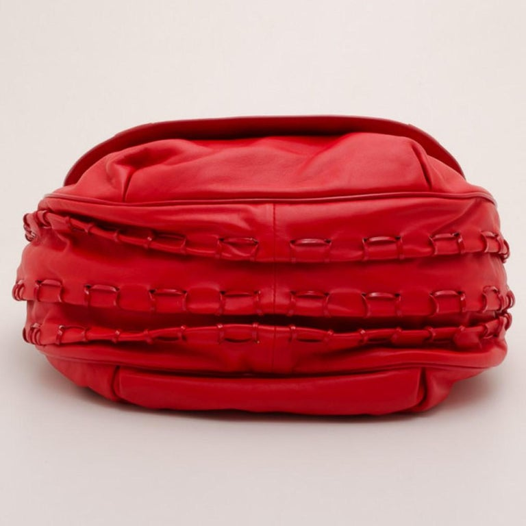 Versace Red Rounded Flap Shoulder Bag For Sale 1