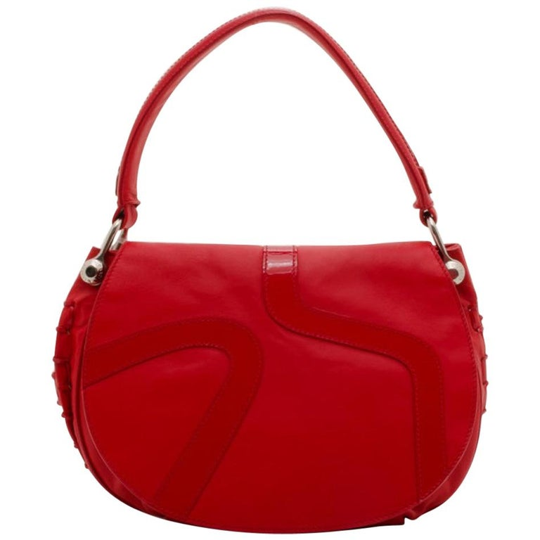 Versace Red Rounded Flap Shoulder Bag For Sale