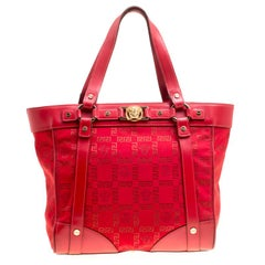 Versace Red Signature Fabric and Leather Tote