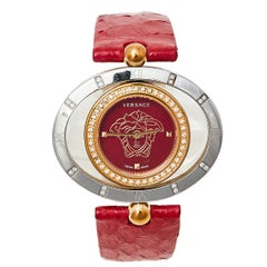 Versace Red Two Tone Stainless Steel Leather Women's Wristwatch 32 mm x 40 mm