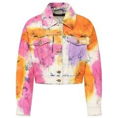 Versace Resort 2020 Multicolored Tie Dye Denim Bleached Jean Jacket Size 40