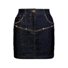 Versace Resort 2020 Stud Embellished Dark Blue Denim Mini Skirt Size 38