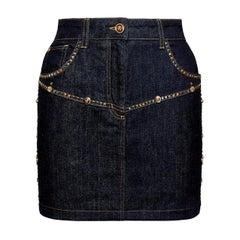 Versace Resort 2020 Stud Embellished Dark Blue Denim Mini Skirt Size 40