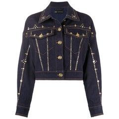 Versace Resort 2020 Studded Gianni Signature Dark Blue Denim Jean Jacket Size 38