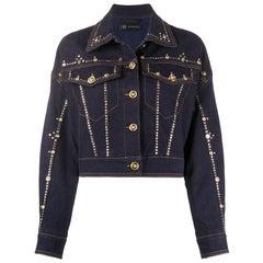 Versace Resort 2020 Studded Gianni Signature Dark Blue Denim Jean Jacket Size 40