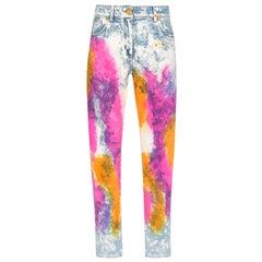 Versace Resort 2020 Tie Dye Denim High Waisted Slim Fit Jeans Size 26