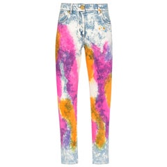 Versace Resort 2020 Tie Dye Denim High Waisted Slim Fit Jeans Size 27