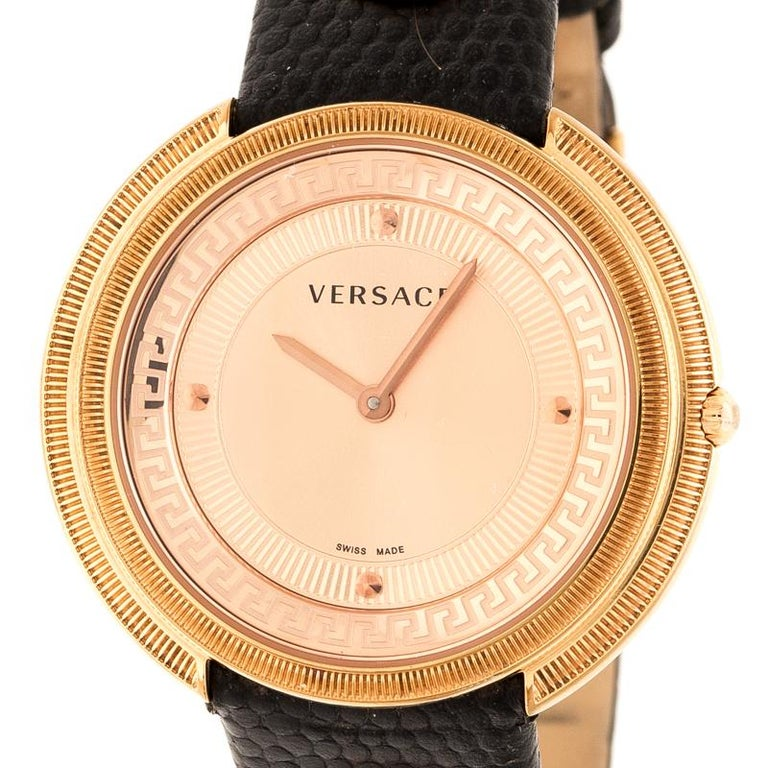 Contemporary Versace Rose Gold Plated stainless Steel Thea VA7 Women's Wristwatch 39 mm For Sale