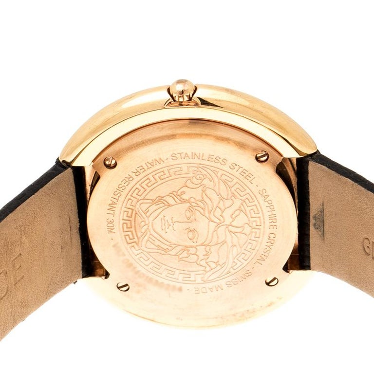Versace Rose Gold Plated stainless Steel Thea VA7 Women's Wristwatch 39 mm In Good Condition For Sale In Dubai, Al Qouz 2