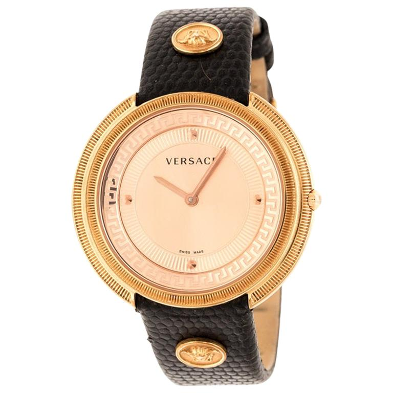 Versace Rose Gold Plated stainless Steel Thea VA7 Women's Wristwatch 39 mm For Sale