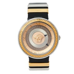 Versace Rose Gold Two-Tone Stainless Steel Leather Women's Wristwatch 40 mm