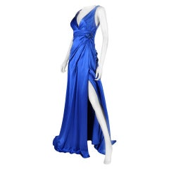 VERSACE ROYAL BLUE SILK GOWN w/ METAL MESH ROSE