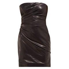 Versace Runway Black Strapless Draped Leather Mini Dress Size 38