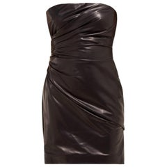 Versace Runway Black Strapless Draped Leather Mini Dress Size 40