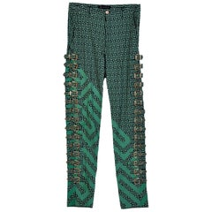 VERSACE RUNWAY BUCKLE EMBELLISHED GREEK KEY PRINTED JEANS for MEN