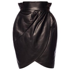 Versace Runway High-Waisted Black Leather Wrap Skirt Size 40