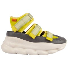 Versace Runway Lime Green Cut-Out Velcro Chain Reaction Sneakers Size 36.5