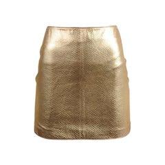 Versace Runway Lizard-Effect Leather Mini Skirt, Fall-Winter 1994-1995
