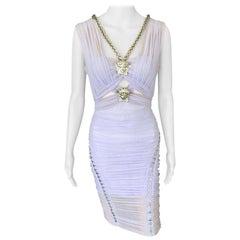 Versace Runway Medusa Embellished Cutout Semi-Sheer Dress