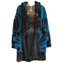 VERSACE RUNWAY MINK FUR COAT WITH CRYSTAL EMBELLISHED Buttons 40 - 6