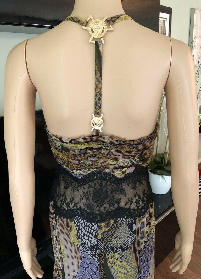 Versace Runway Sheer Lace Panel Open Back Dress Gown  For Sale 1