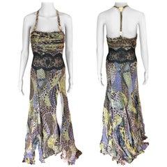 Versace Runway Sheer Lace Panel Open Back Dress Gown