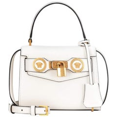 Versace Runway Spring 2018 Small White Leather Icon Top Handle Bag with Strap