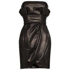 Versace Runway Strapless Draped Black Leather Dress Size 40