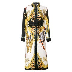 Versace Runway Tribute Collection Native American Long Sleeve Silk Dress Size 38