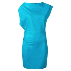 Versace Runway Turquoise Asymmetric Ruched Leather Mini Cocktail Dress Size 40