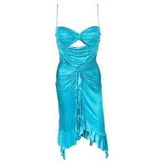 Versace S/S 2004 Runway Cutout Ruffles Turquoise Dress