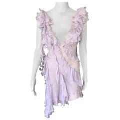 Versace S/S 2004 Runway Sheer Ruffled Plunging Neckline Dress