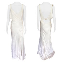 Versace S/S 2005 Embellished Cutout Back Ivory Dress Gown