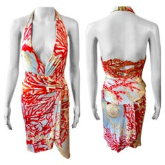 Versace S/S 2005 Embellished Seashell Print Plunged Open Back Dress