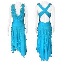 Versace S/S 2005 Halter Open Back Ruffles Turquoise Evening Dress Gown