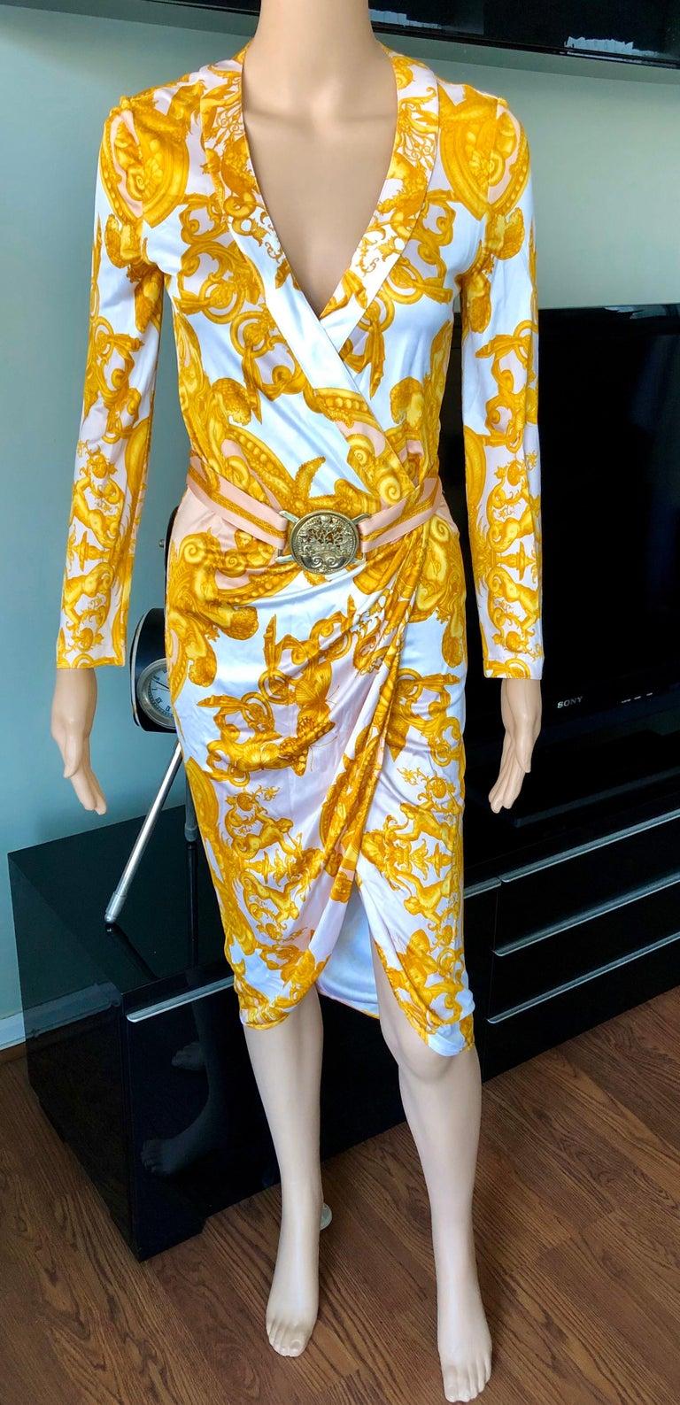 Versace S/S 2005 Runway Baroque Print Belted Wrap Dress IT 42