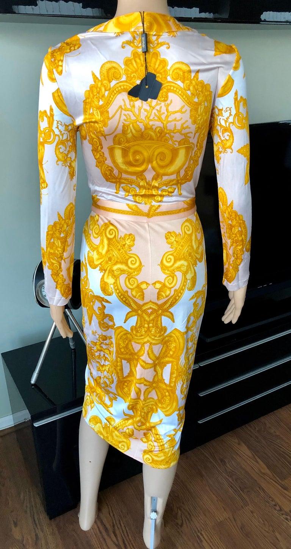 Women's Versace S/S 2005 Runway Baroque Print Belted Wrap Dress For Sale