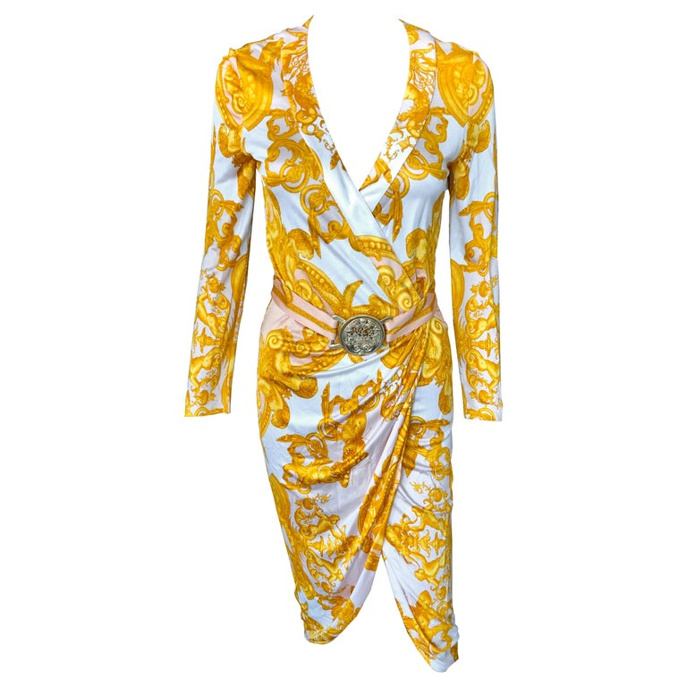 Versace S/S 2005 Runway Baroque Print Belted Wrap Dress For Sale